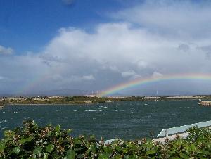 Regenbogen Blick von der Terrasse